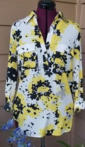 Shirt Blouse with Black&Yellow Florals
